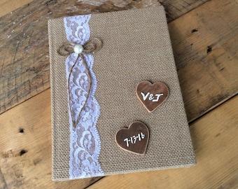 Wedding Guest Book. Rustic Wedding Guest Book. Country/Shabby Chic Wedding. Burlap Wedding Book. Customized. Wedding Keepsake.