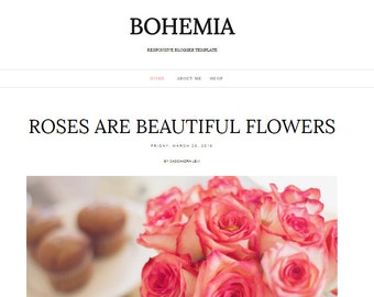 One Layout Blogger Template Responsive Blog Website / BOHEMIA / Premade Theme - Instant Download
