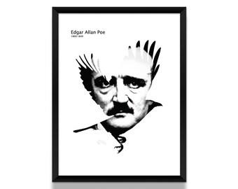 Edgar Allan Poe Poster, Literature Poster, Edgar Allan Poe Art, Black and White Poster, Literary Art, Book Lover, Literary Gift