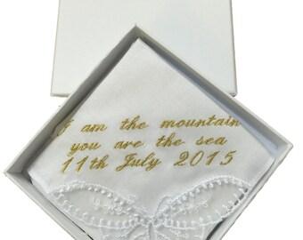 Personalised ladies handkerchief, gift boxed.