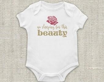 Newborn Outfit, Sleeping, Beauty, Baby Bodysuit, Pink, Gold, Girl, Glitter Vinyl Applique
