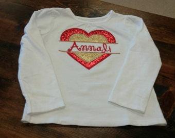 Glitter heart appliqued shirt