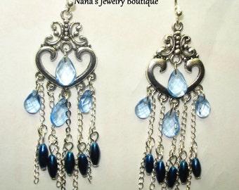 Two Tone Blue Dangle Earrings