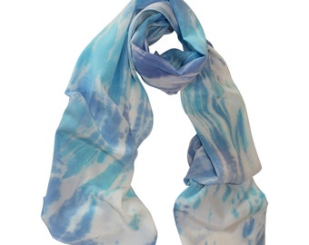 Hand Painted Silk Scarf, Blue and Turquoise / Women's Scarf / Women's Silk Scarf / Blue Silk Scarf / Shibori Silk Scarf
