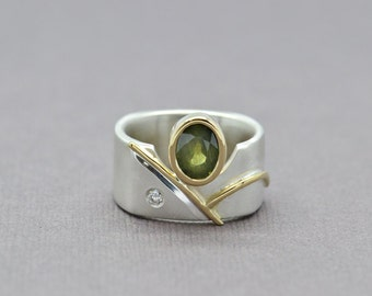 Green Sapphire Ring, Sapphire Ring, Sterling Silver and Yellow Gold Ring, Two Tone Ring, Statement Ring, Abstract Ring, Wide Ring