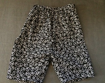 peace print cotton infant pants