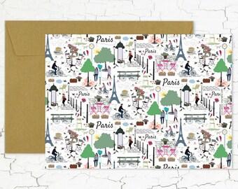 "Postcard ""Dans les rues de Paris"""