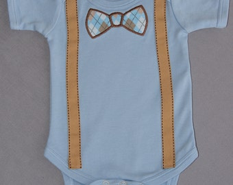 Applique Bow Tie and Suspenders Onesie, Baby Boy Onesie, Light Blue