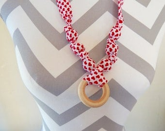 Fabric Teething Ring Necklace - Red Hearts, Breastfeeding Necklace, Nursing Necklace