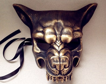 Wolf Mask Animal Costume Burlesque Metallic Bronze Copper Rose Gold Steampunk Wolf Masquerade Mask or Wall Deco