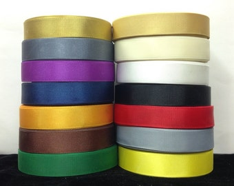"25 Yards SOLID 3/4"" Grosgrain Ribbons  14 Different Colors"