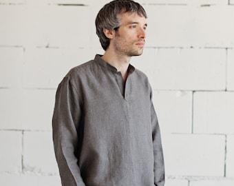 100% LINEN GREY SHIRT, hand made in London, sustainable, artisan, fashion