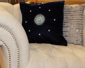 Velvet Cushions,Handmade Cushions,Large Cushions, Blue Cushions,Pink Cushions, Embroidered Cushions