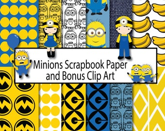 Minions Scrapbook Paper, Scrapbook Paper Minions, Instant Download, Clip Art Minions, Digital Paper Minions