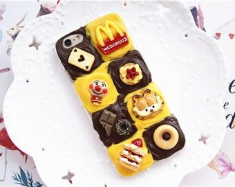 Garfield phonecase handmade decoden iphone 6 case 6splus case cream butter cake kawaii deco phone  case with fastfood cabochon 7plus case