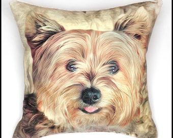 Yorkshire terrier pillow cover, yorkie pillow, dog pillow, puppy pillow
