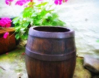 Antique WOODEN BARREL CASK Coopered Iron bound Rustic planter? Bucket Pot Vessel