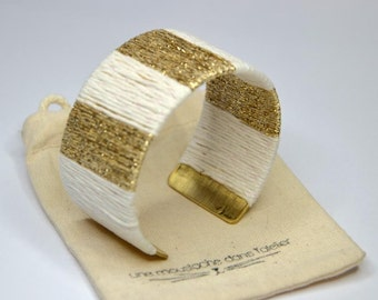 Woven cuff white and Golden