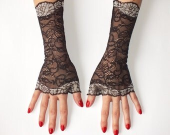 Black Fingerless gloves\Lace gloves\Black Lace Gloves\ Fingerless Gloves\ Lace Gloves\Black Gloves\Cuff Lace Gloves