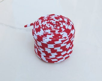 Red and white T-shirt yarn, Cotton Cord,  recycled t-shirt yarn, t shirt yarn, recycled cotton yarn, colorful yarn,  jersey yarn