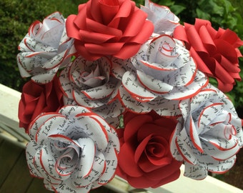 1 dozen I Love You paper flowers handmade paper roses, Valentine's Day flowers, annivery bouquet, red roses