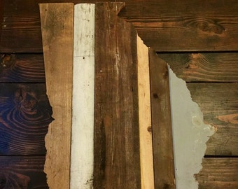 Georgia Reclaimed Wood State Outline Wall Art - Large