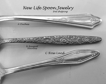 "Spoon Bracelet ""Choose Your Pattern""Handmade Bracelet Vintage Jewelry Silverware Jewelry Spoon Ring Fork Jewelry Flatware Jewelry--63"