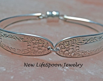 "Spoon Bracelet ""Mildred"" Silver Bracelet Spoon Jewelry Vintage Jewelry Antique Bracelet Wedding Gift Spoon Handles--169"