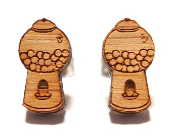 Gumball Machine Bamboo Stud Earrings, Gumball Machine Earrings, Bubblegum Studs, Wooden Earrings, Made in Australia, Novelty Earrings