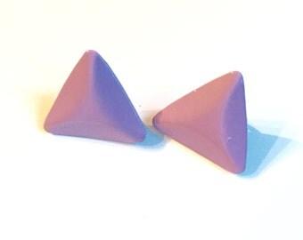80s Purple Triangle Earrings Clip On Clipon Clipons
