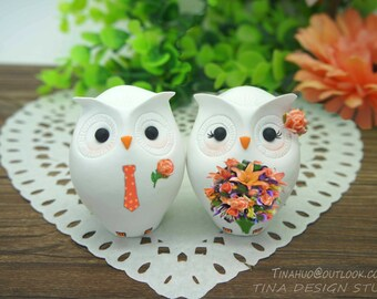 Unique Owl Wedding Cake Toppers Coral Theme-Personalised Owl Love Bird Cake Toppers Fall Theme