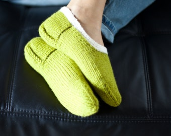 Handknitted slippers / Handmade slippers / Wool socks for women (hs-0009)
