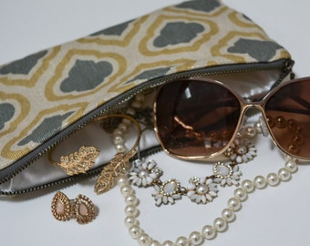 Quatrefoil Print Zippered Pouch- Bag, Handbag, Purple, Lilac, Lavender, Olive Green  Clutch