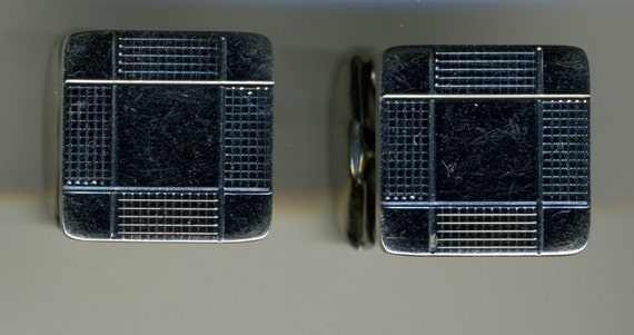 Vintage-Sterling Silver-Hallmarked-By Simmons-MOD Design-Square-Cuff Links-Cufflinks