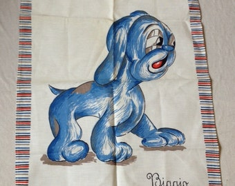 Biagio Blue Dog Vintage Fabric Cloth Retro Design