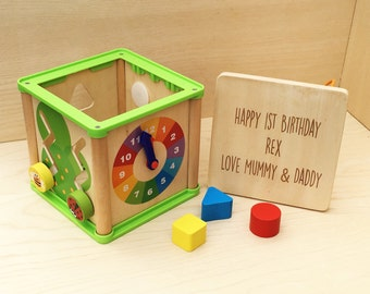 Personalised motor skills activity cube gift for her or him wooden toy engraved toy