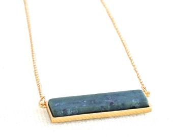 Green Spot Jade Gemstone Necklace Horizontal Bar Geometric Minimalist Semi Precious Organic Raw Stone Slice Jewelry Gift BN528G-GJ