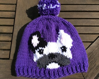 Hand Knitted French Bulldog Hat
