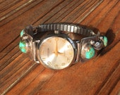 Vintage Native American sterling silver and turquoise watch in EXCELLENT CONDITION!