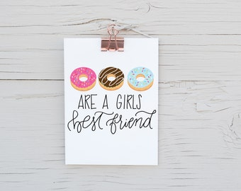 8x10 Donuts Print - Donuts - Kitchen Print - Watercolor - Donut Print - by Jen K Calligraphy