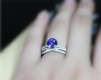 Genuine Tanzanite Ring Set VS Tanzanite Engagement Ring Set Round Gem Ring Set Solid 14K White Gold Ring Set Wedding Ring Set Bridal Set