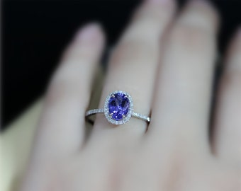 Oval Dark Blue Gem Real Tanzanite Engagement Ring 6x8mm Tanzanite Wedding Ring Solid 14Kt White Gold Ring Promise Ring Anniversary Ring Gift