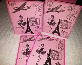 4 Paris Eiffel tower cards- Paris- Paris Cards- Pink