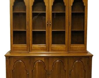 "DAVIS CABINET Solid Antique Walnut 65"" Buffet w/ China Cabinet 425 426"