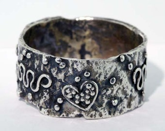 Reticulated Silver Band Ring - Size 9