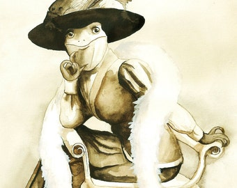Victorian Lizard, unframed original artwork, sepia