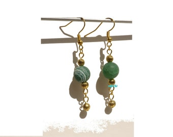 Earrings with frosted green agate beads