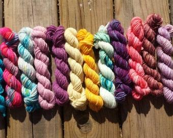 OOAK Mini Skeins set #7, Sock yarn Minis, 12 mini skeins, 5 Grams each- Ready to Ship