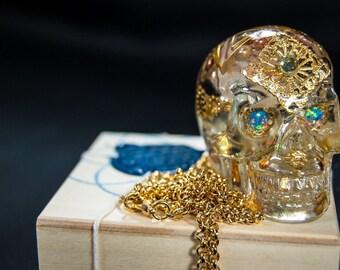 Opal eyes skull with topaz london  gold chain 22k