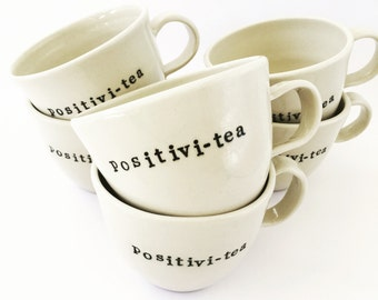 Tea cup, positivi-tea, hand thrown stoneware, tea lovers, Made in Australia, limited edition, chai tea cup, herbal tea cup